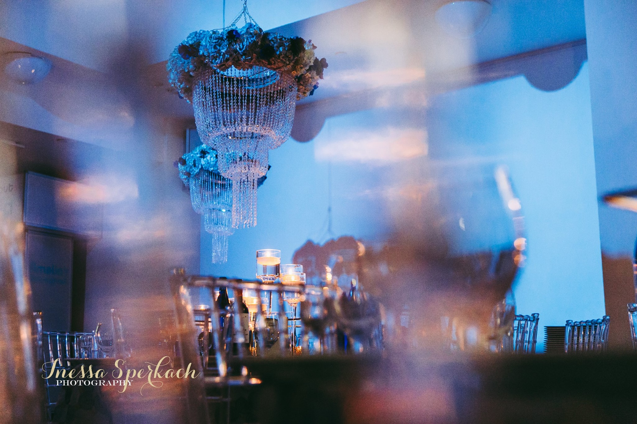 Beautiful chandeliers hang over each table. Adults enjoyed a family-style dinner, while the younger guests grazed at the ample buffet.