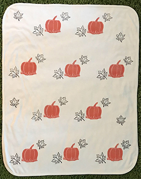 Pumpkin and leaves organic cotton baby blanket