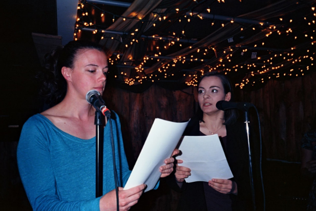 Katharine Stanbridge and Laura Meadows reading Natalie Frijia's    This Will Be Our Last Transmission    at Write On IV.     Photo by Tomasz Chwieszczenik