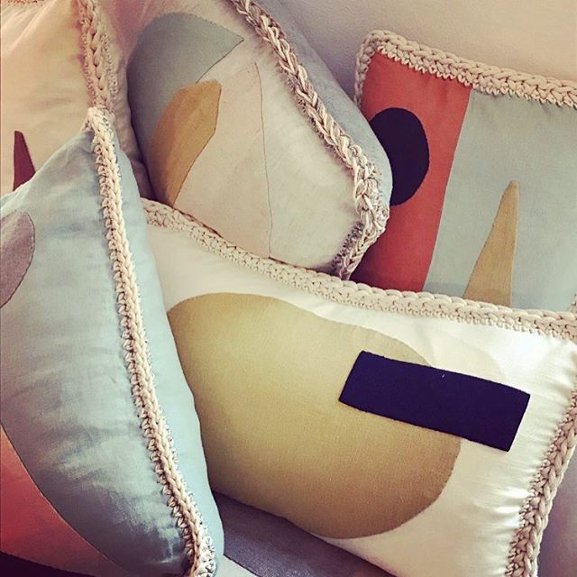 hand embroidered cushions for CÉLINE #greatorder #oneofakind #linen #handembroidered #thankyou #celinesummer18 #ikoutschuss