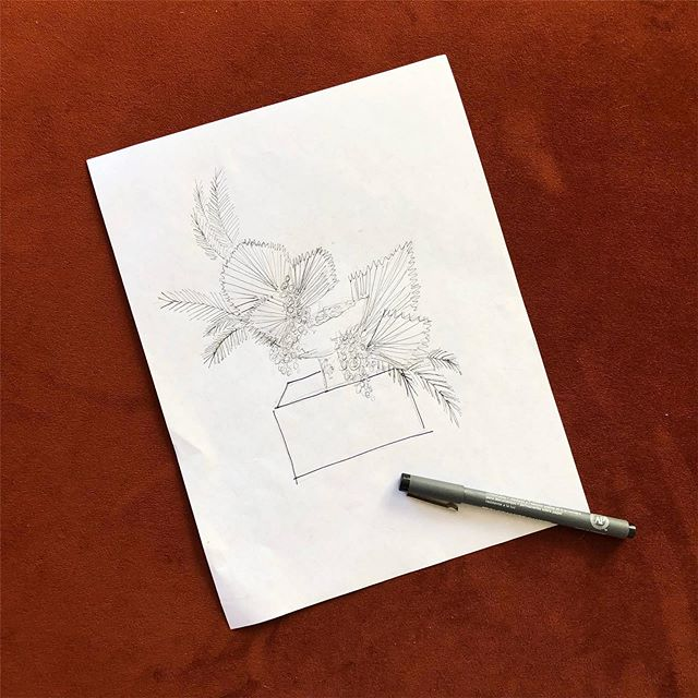 Spending some much needed time at home, glued to my computer answering a ton of emails today... _ Sometimes I always feel like I'm playing catch-up. I'm looking to make some changes soon that will stretch me and challenge me in other ways. #timetogrow  _ #sketch #floralinspiration #floralsketch #rawfinery
