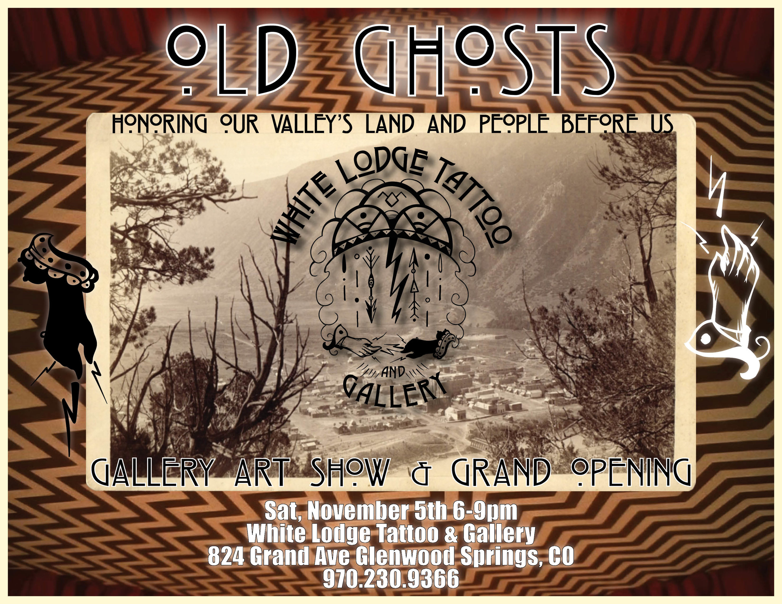 Event poster for White Lodge Tattoo and Gallery Grand Opening and art show