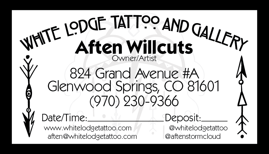 Business card back, White Lodge Tattoo and Gallery
