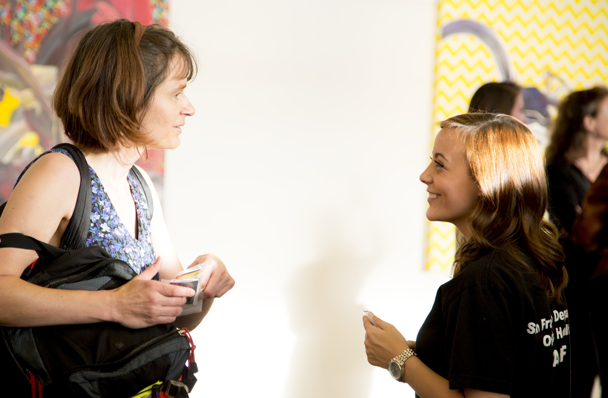"San Francisco Department of Public Health worker, and gallery-goer @ CCA- During the opening of ""Always Waiting"""