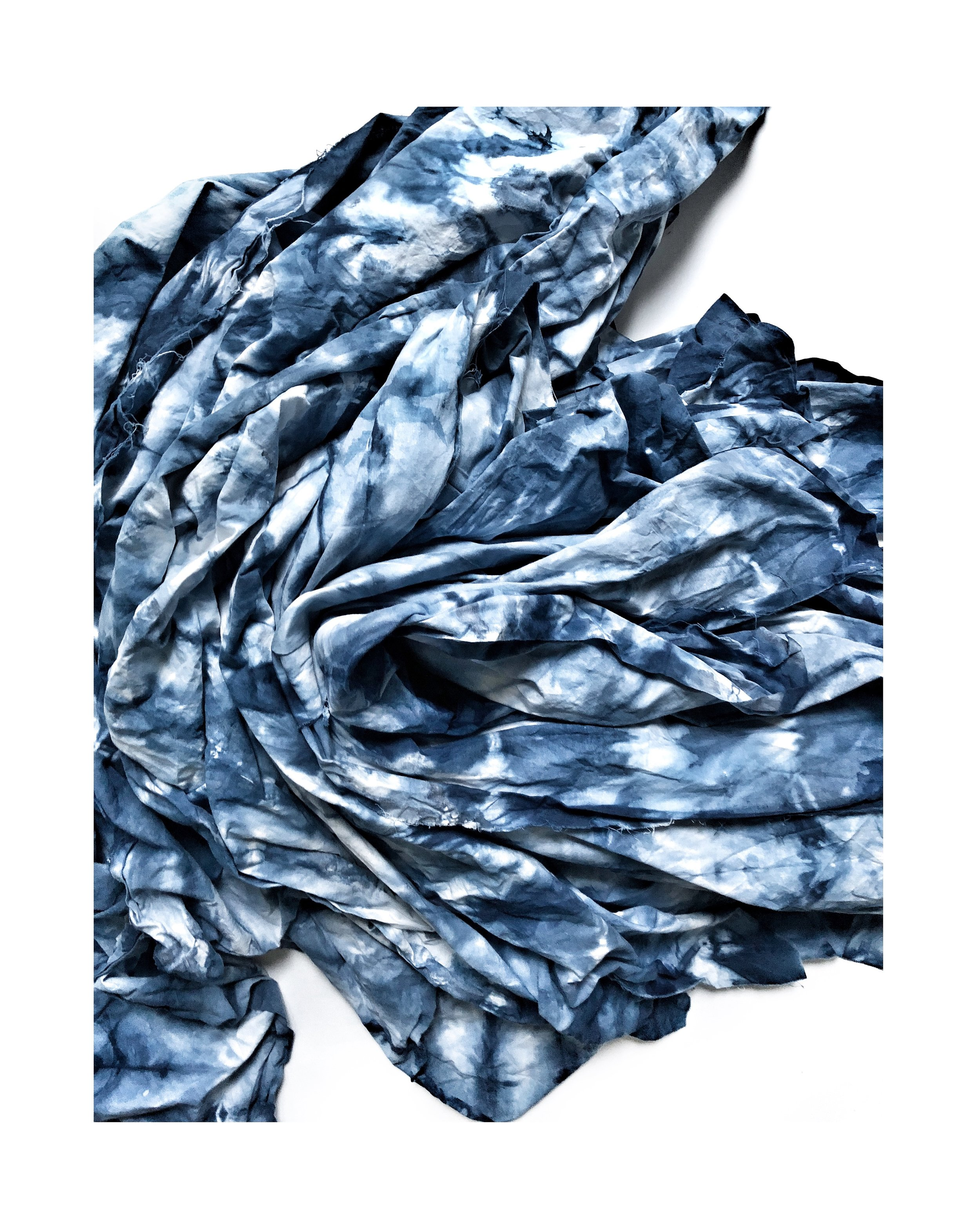 A scarf with blue and white patterns