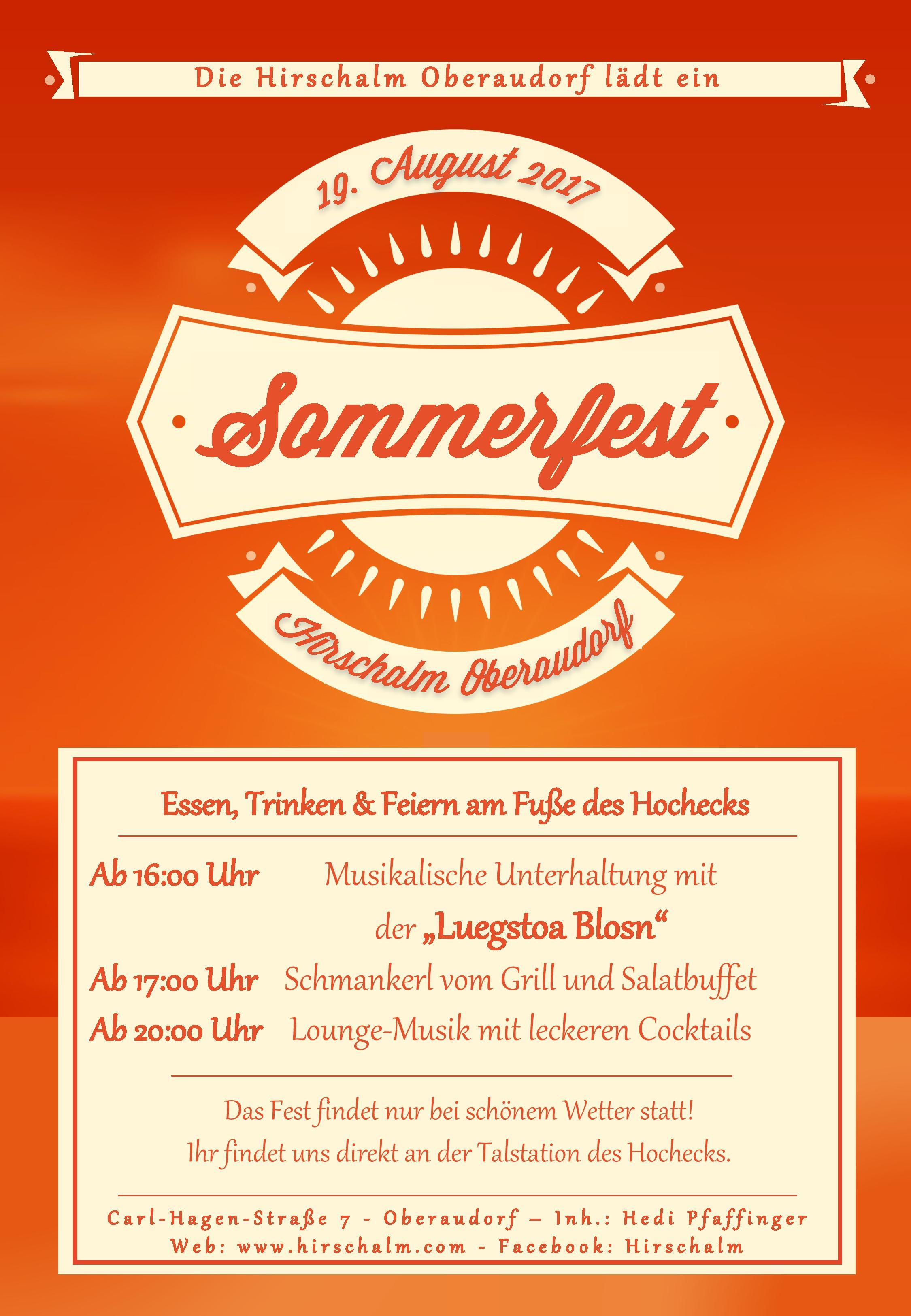 Sommerfest 2017 an der Talstation des Hochecks in der Hirschalm Oberaudorf