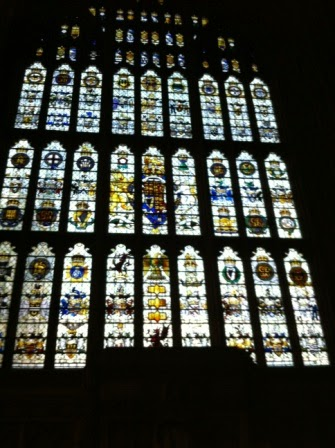 The enormous stained glass window at the south end of Westminster Hall