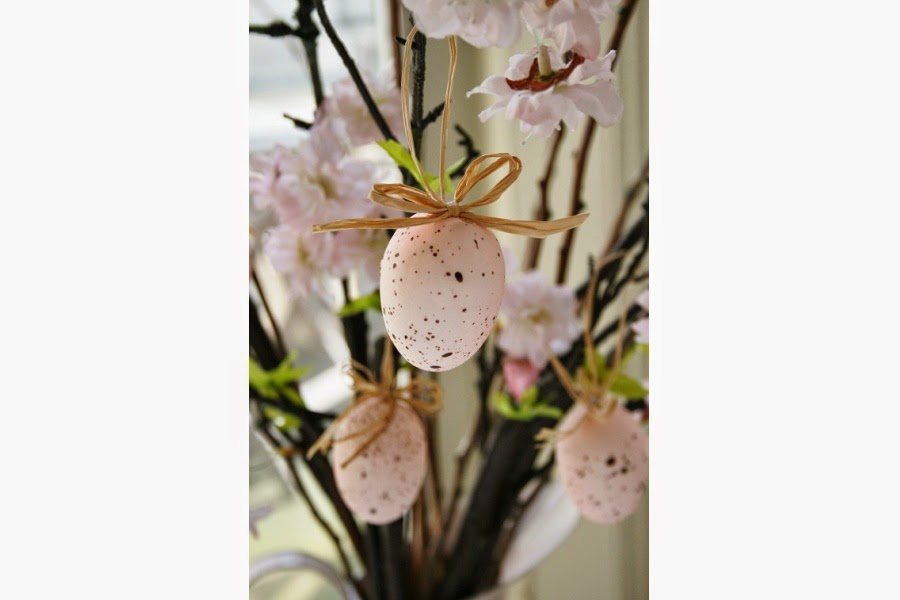 These would look lovely hanging on branches of stems of fresh pink blossom