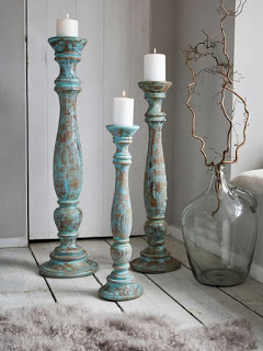 These candle holders look superb on the stripped wood floors