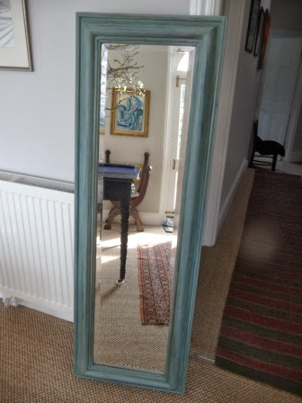 This once  very boring, modern pine mirror was just crying out for a makeover.