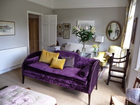 My lovely Regency sofa is the focal point in my sitting room
