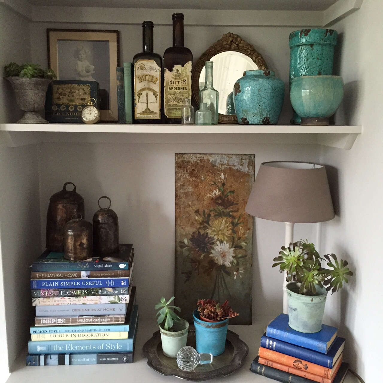 Shelves in my sitting room that I styled with the inspiration from Petersham today!