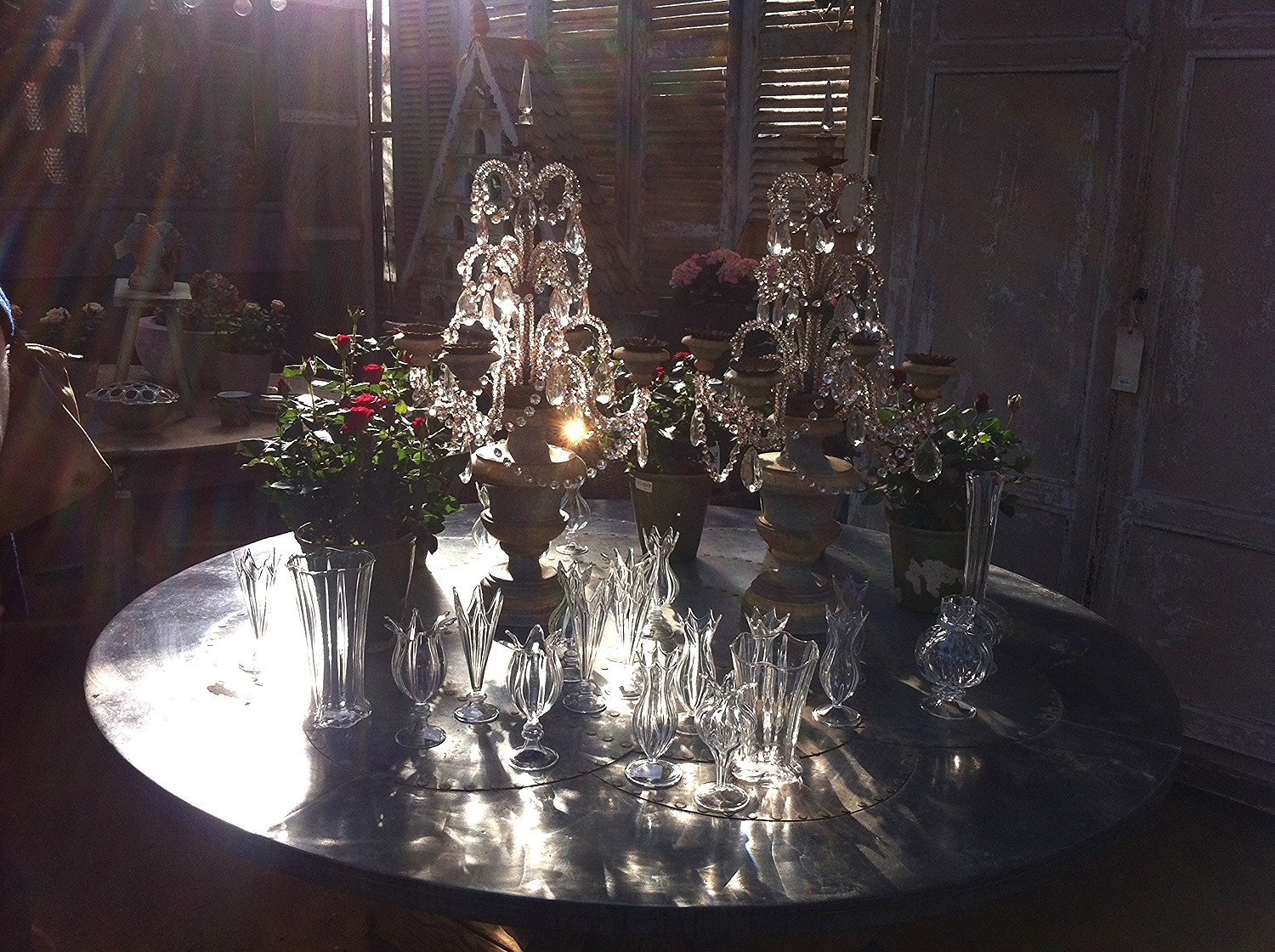 I loved the sunlight on these vintage candelabra and red rose plants