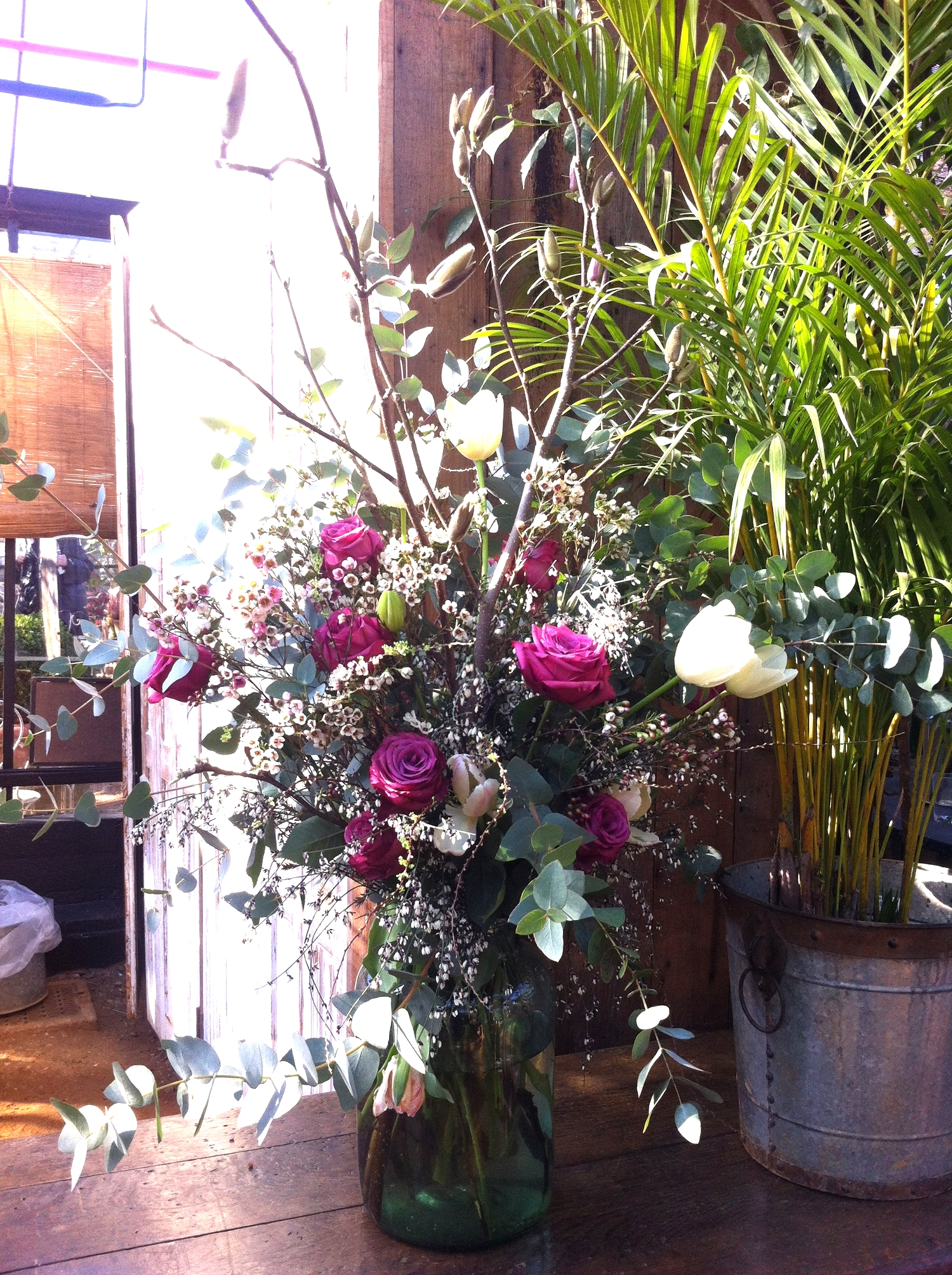 This stunning floral arrangement is in the Michelin star restaurant located in the same glasshouse as the shop