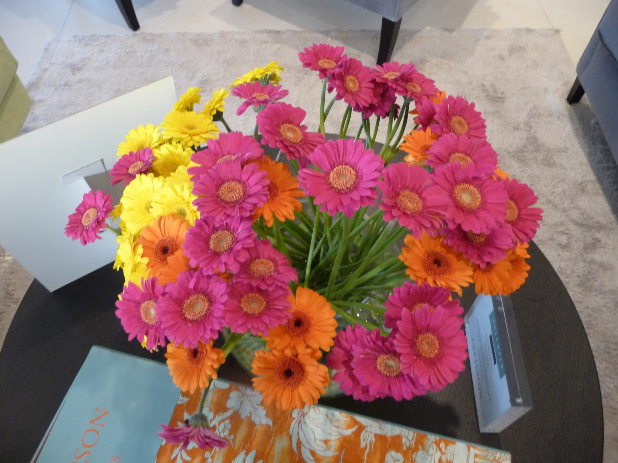 A vase of colourful gerbera in the Fox Linton showroom