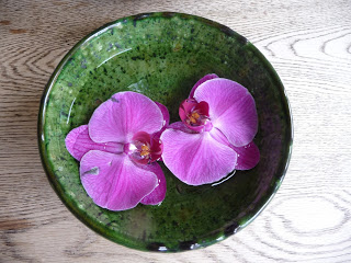 Flowers from my new orchid fell off the plant, so I floated them in a green bowl and used it as a centrepiece last night when  two friends came for supper .