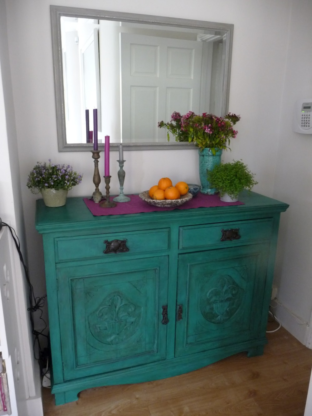 Mahogany sideboard painted in two coats of Aubusson Blue and one coat of Florence plus clear and dark wax.