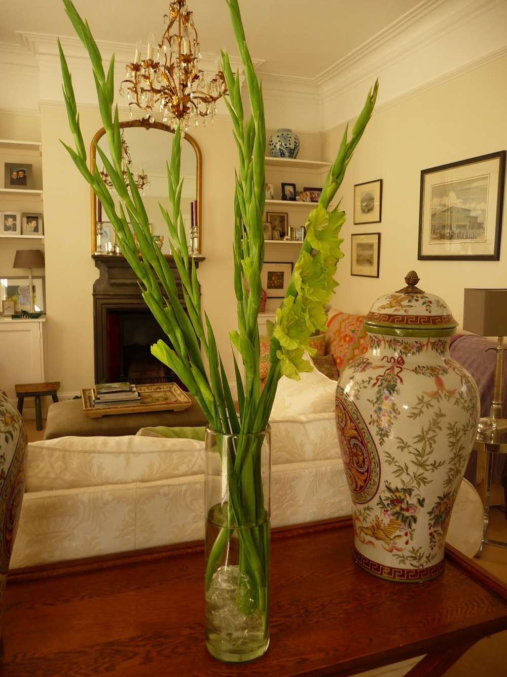 This bunch cost £2.99 and I'll get a week out of them - keeping direct sunlight off them. Love the lime green colour and the tall thin shape of them contrasts well with the large round chinese vases.