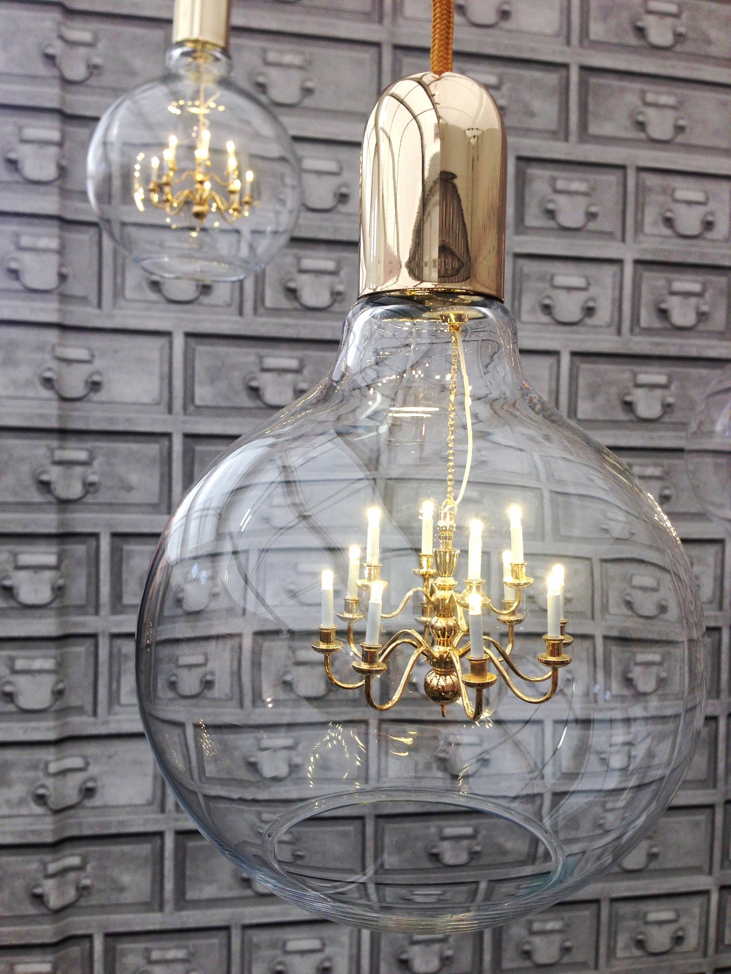 Mineheart  eclectic light with tiny chandelier inside