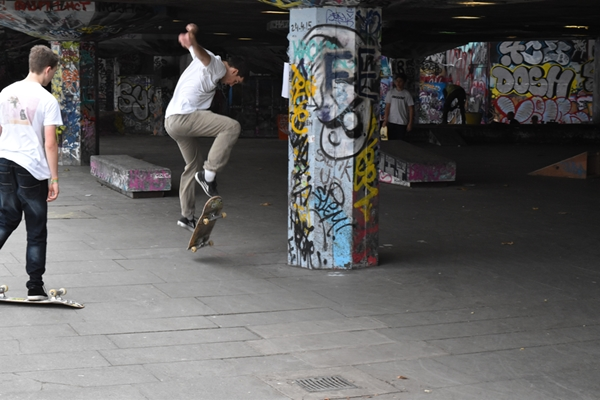 Skateboarders are a feature of the South Bank as are the graffiti artists