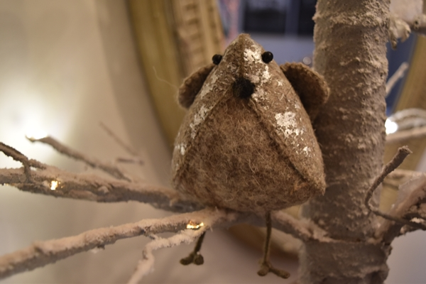 This comical little felt bird is a new addition on this tree from  Petersham Nurseries
