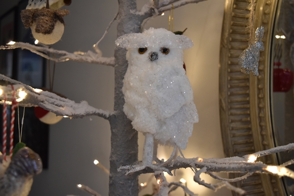 My snowy owl is from  Jayne Copperwaite Flowers , my local florist. I have another one on the main Christmas tree.  I love the expression on his face!