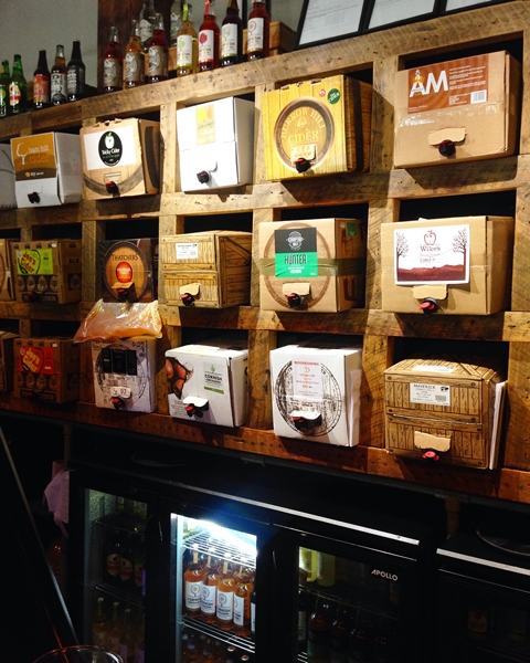 The Shed - a bar/restaurant chain that specialises in pizza, pies and cider where we had a late lunch. Marcie had the cider sampling board. This is a wall of local ciders!!