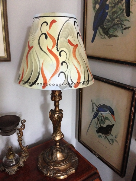 The lampshade I purchased firmly in place in the corner of my sitting room