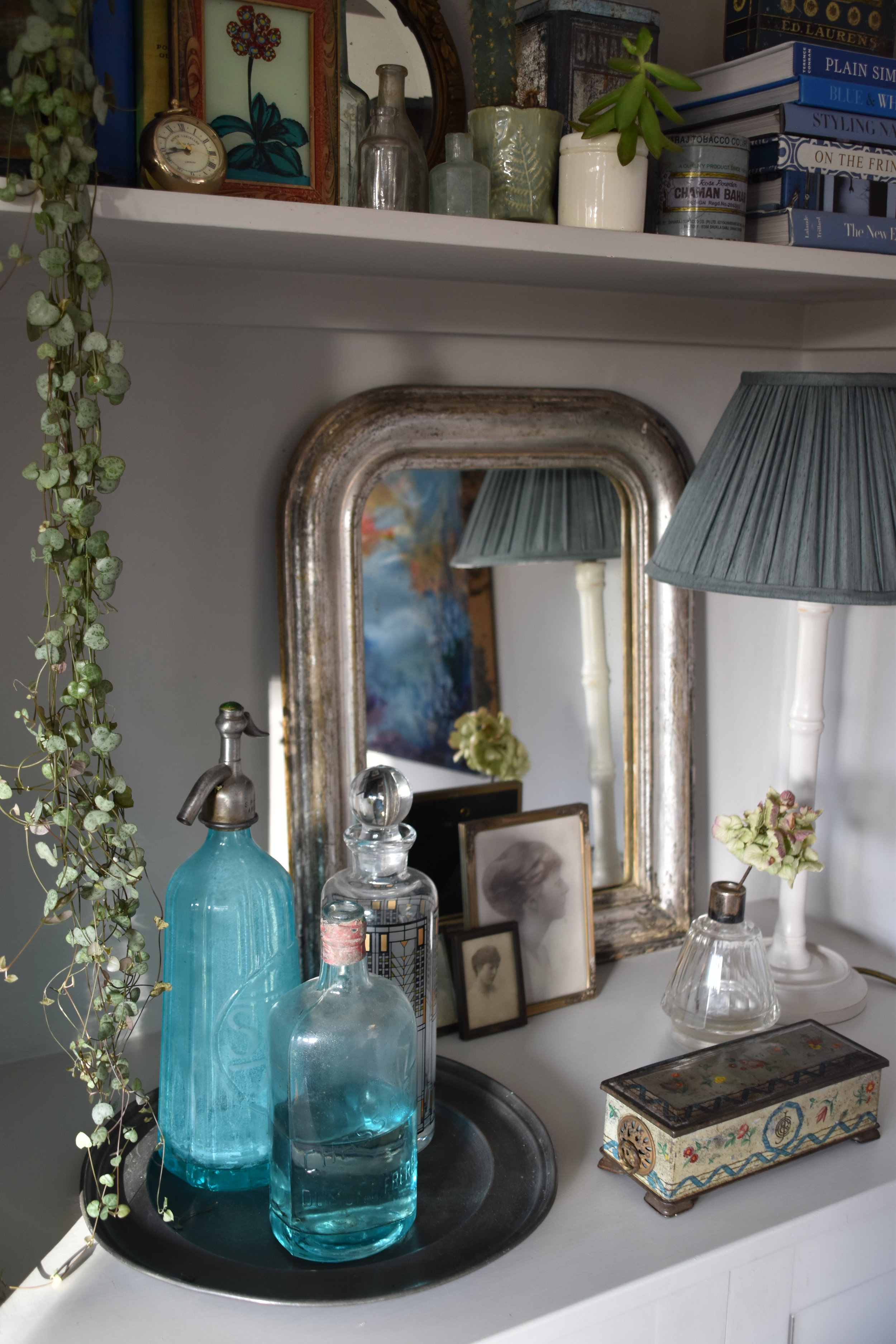 Mirror used as backdrop to this shelfie and trailing plant