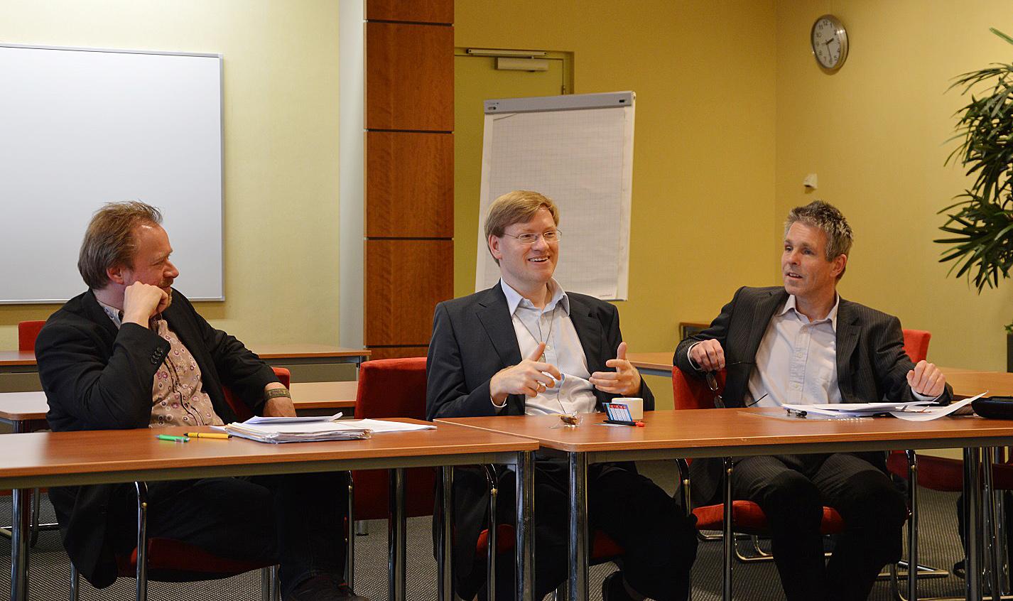 In gesprek met collega P. Lemmens en transhumanist A. Sandberg, maart 2014.