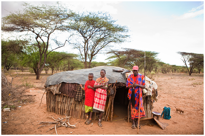 Once they find good grazing and set up their homes, this is what their homes look like. Each man usually has a few wives who each have their own house. The group of houses is known as a manyatta and is often surrounded in thorn bushes and thick brush to keep hyenas out at night.