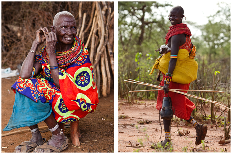 By the end of a woman's life, her beads are like a diary that tell the story of her life. The girl on the right is in the process of moving her family's flocks  to greener pastures, carrying water and the young goats that are too small to make the journey themselves.