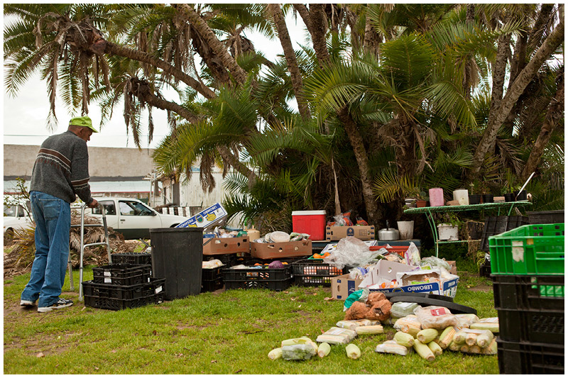 Every day, food donations are piled outside, ready to be sorted, stored or given away.