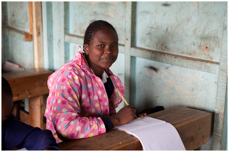 Dini is older than her classmates because she was rescued from a difficult family situation in Samburu. She had never been to school before but is catching up fast and excelling at her school work. She says that when she finishes school she wants to be a school teacher.