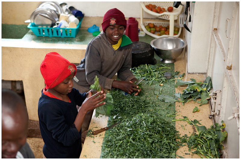 The boys help out preparing the kale for dinner.