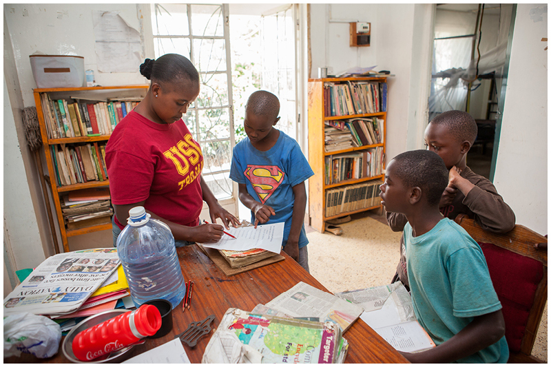 Cate has her work cut out for her trying to ensure that the children always have the books and supplies they need for school.