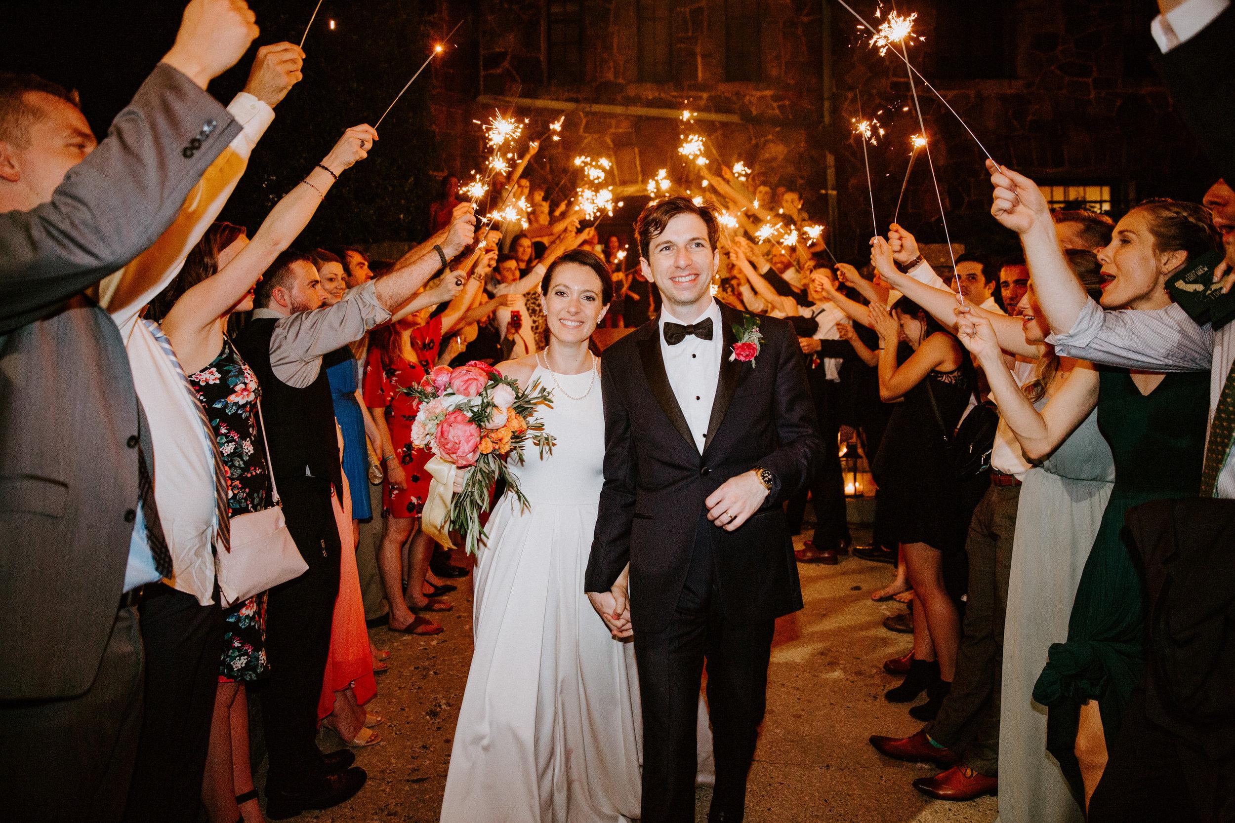 sparkler exit Asheville wedding