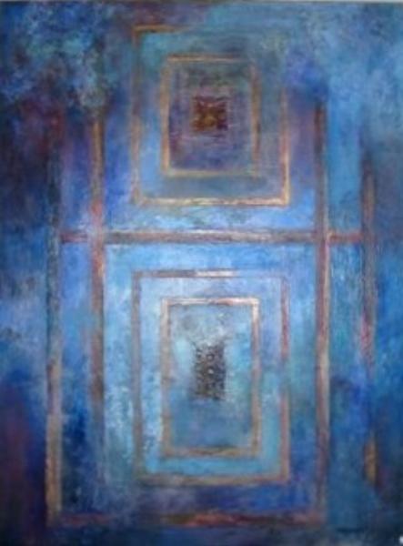 """BLUE DOOR  Mixed Media 30"""" x 40"""""""