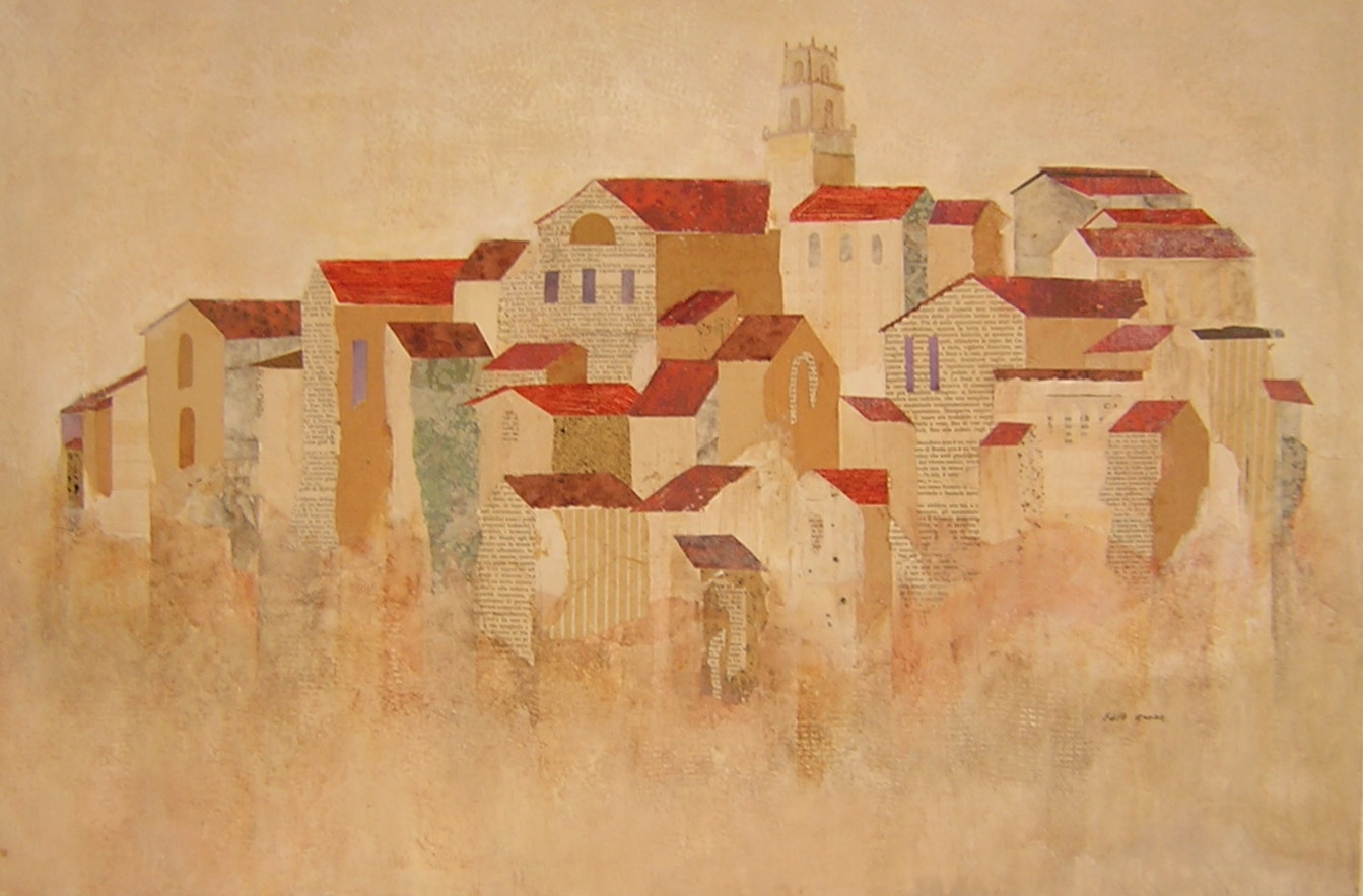 "HILLSIDE TOWN TILE ROOFS    Mixed Media   24"" x 36"""