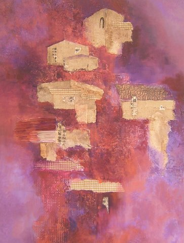 HILLSIDE HOUSES PURPLE    Mixed Media    30'' x 40''