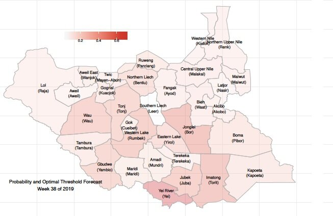 For the week of September 16 - 20, PeaceTech Lab's statistical model predicts that the states of Tonj, Wau, Yambio, Eastern Lake (Yirol), Western Lake (Rumbek), Northern Liech (Bentiu), Jonglei (Bor), Yei, Jubek(Juba), and Imatong (Torit) will have higher likelihoods of experiencing one or more of the following events (as classified by ACLED): 1)Violence against civilians, 2) Battles, 3) Protests or Riots.