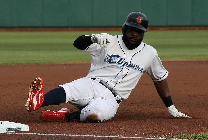 Cleveland Indians' own Abraham Almonte sliding into third for the Columbus Clippers on Tuesday night.  (Photo Credit: Columbus Clippers)
