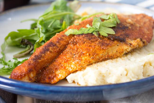 BBQ Catfish + Cauliflower Grits [Guest Post by The Hungary Buddha] | Personally Paleo