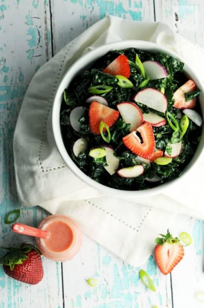 Kale Salad with Strawberry Vinaigrette   Fried Dandelions