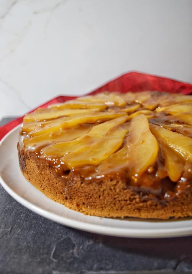 Cassava Flour Caramel Pear Upside Down Cake (Paleo, Nut Free) | Personally Paleo