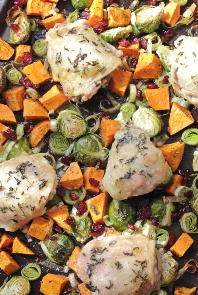 Autumn Roasted Veggie Sheet Pan Chicken with Craisins | Physical Kitchness
