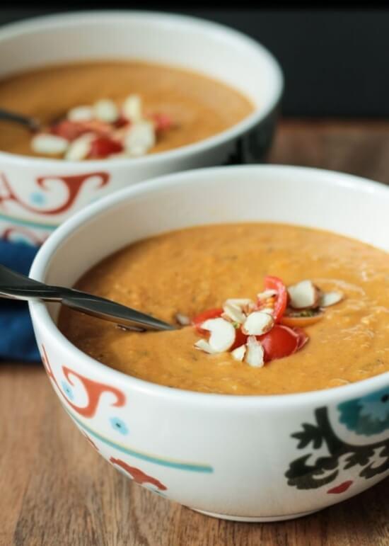 Sweet Potato Almond Soup | Veggie Inspired Journey