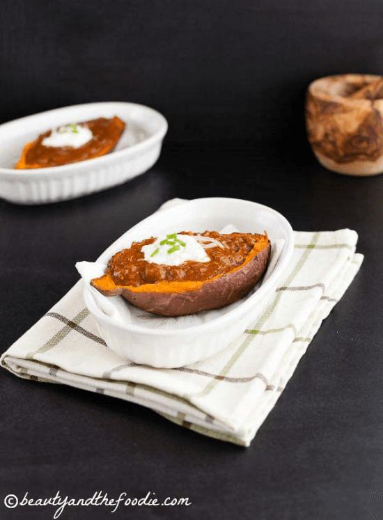 Taco Chili Stuffed Sweet Potatoes | Beauty and the Foodie