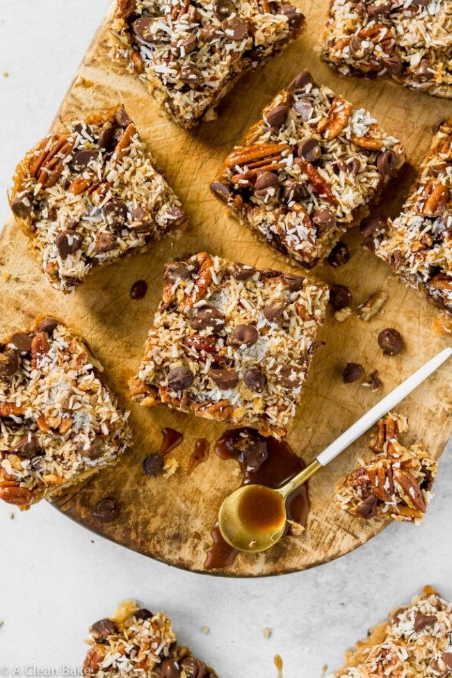 Gluten Free + Paleo Magic Cookie Bars | A Clean Bake
