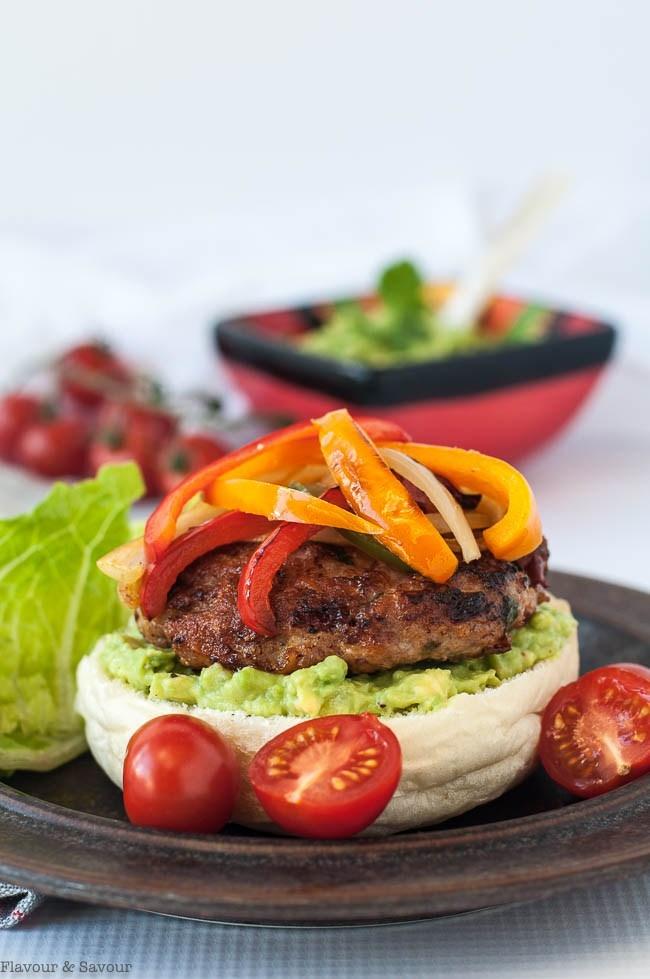Paleo Chicken Fajita Burgers with Tomatillo Guacamole | Flavour & Savour